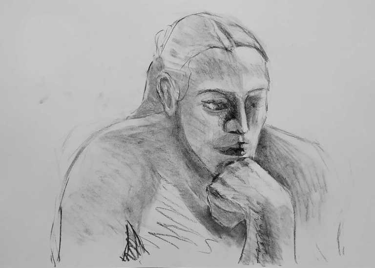 Iasonas Bakas Charcoal Female Portrait