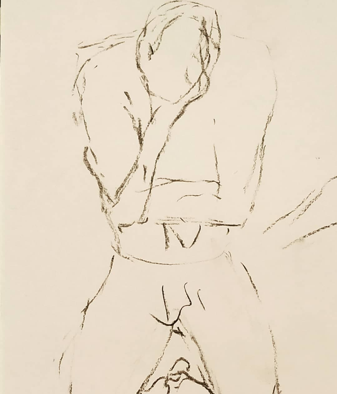 despair life drawing model pose charcoal, the curfew bath