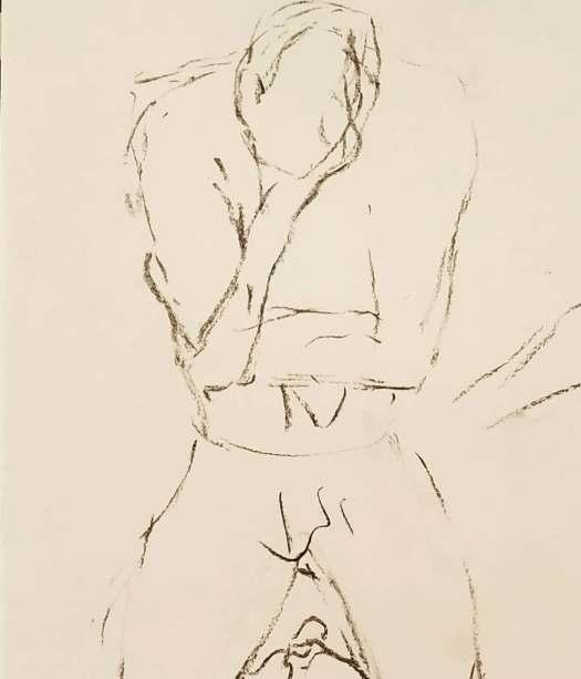 despair life drawing model pose charcoal, the curfew bath