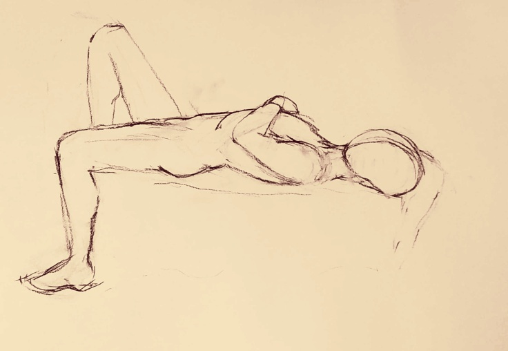 life drawing session in bath, charcoal lying pose, the curfew