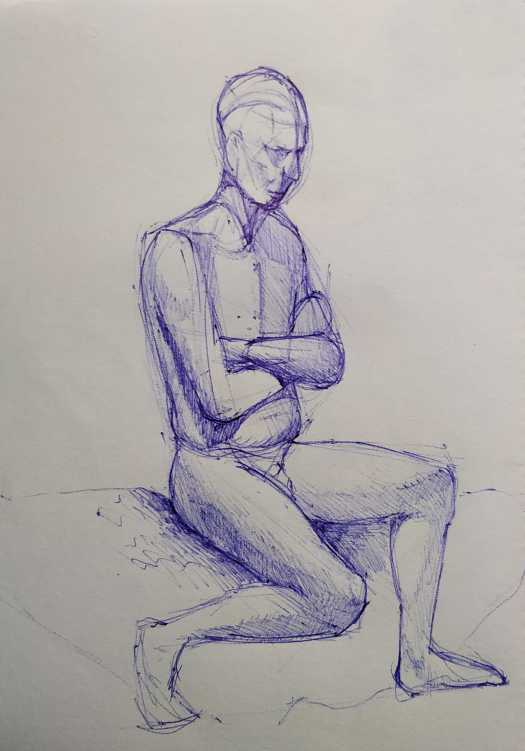 life drawing sitting pose using a pen, the curfew bath
