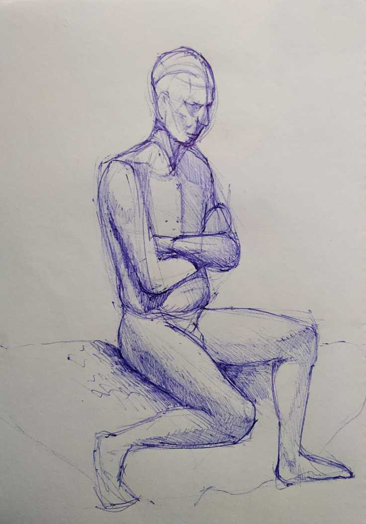 life drawing sitting pose using a pen, the curfew bath